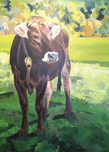 painting of cow in field