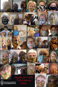 poster showing grid of photos with people wearing dog themed face masks