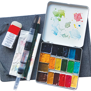 watercolor kit with artists supplies
