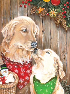 painting of mother dog nuzzling puppy