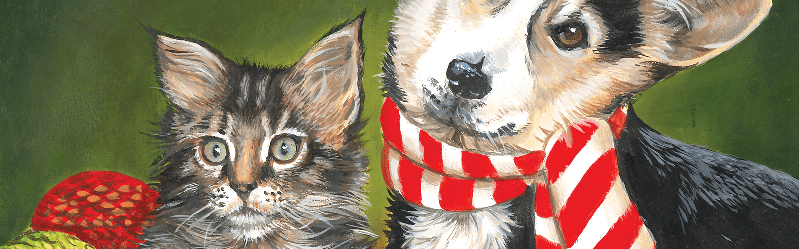 Painting of kitten and dog in holiday scarf
