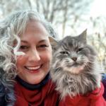 Jan Schowengerdt and her cat Sasquatch