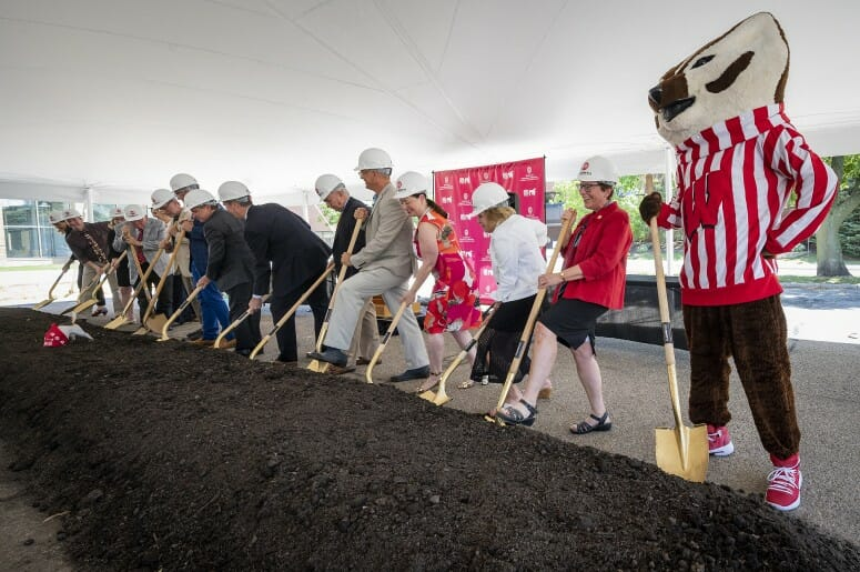 Bucky Badger and Chancellor Rebecca Blank stand with donors and other members of the campus and state community as they take shovels in hand during a UW School of Veterinary Medicine building expansion and renovation groundbreaking. PHOTO BY: BRYCE RICHTER