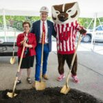 UW mascot Bucky Badger, Chancellor Rebecca Blank and School of Veterinary Medicine Dean Mark Markel take shovels in hand. PHOTO BY: BRYCE RICHTER