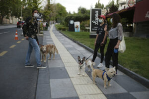 Dog owners wearing masks to help protect against the spread of coronavirus speak along a street in June 2021. (AP Photo/Burhan Ozbilici)